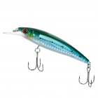 Lifelike Fish Style Fishing Bait w/ Treble Hooks - Blue + Silver