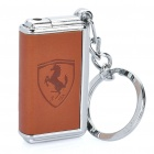 Mini Windproof Butane Jet Flame Lighter Keychain - Brown + Silver