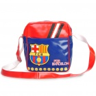 FC Barcelona Style Casual PU Leather One Shoulder Bag (Blue + Red)