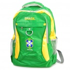 Brazil National Team Style Casual Water Resistant Nylon Backpack (Green + Yellow)