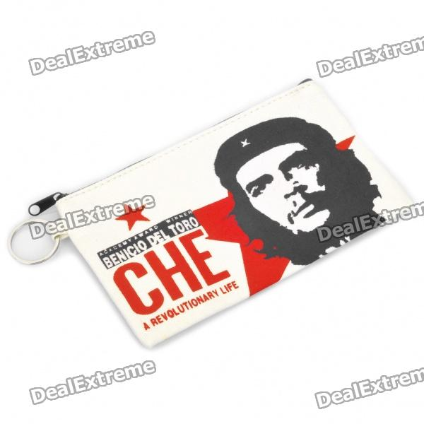 Che Guevara Image Pattern Cloth Pouch Bag with Keychain - Red + Black + White