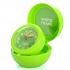 Cute Apple Style Folding Clock w/ Alarm / Photo Frame - Green (1 x AA)