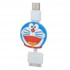 Retractable Cute Doraemon Pattern USB Data / Charging Cable for iPad / iPhone 3G / 4 / 4S