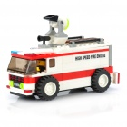 Intellectual Development DIY 3D Fire Engine Car Toy Bricks Puzzle Set (167-Piece)