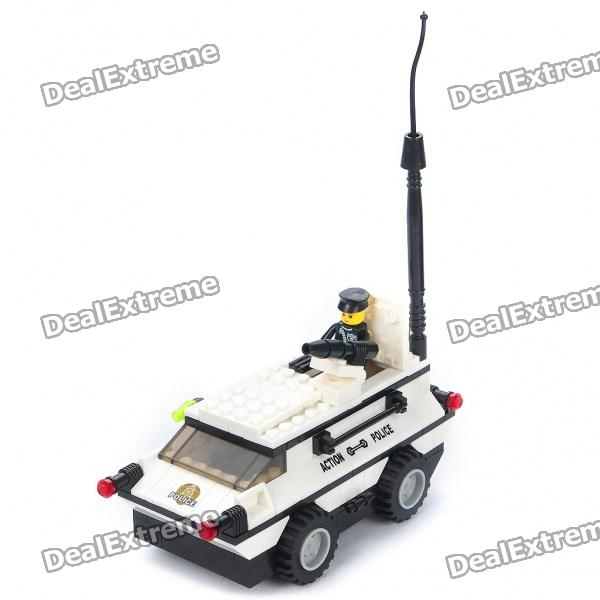 Police Truck Educational Assembly Toy - White + Black