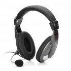 HYUNDAI 960MV Stereo Headphone w/ Microphone / Volume Control - Black + Silver (3.5mm-Plug)