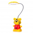 Cute Cartoon Tiger Style Rechargeable Flexible 2-Mode White 18-LED Desk Light Table Lamp (Yellow)