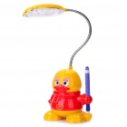 Cute Duck Style Rechargeable Flexible 2-Mode White 19-LED Desk Light Table Lamp (Yellow)