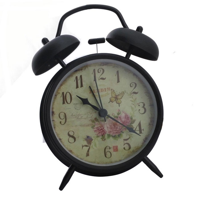 Vintage Style Butterfly and Flowers Pattern Twin Bell Alarm Clock - Black