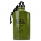 Outdoor Tactical Water Bottle with Carabiner/Compass - Army Green (600ml)