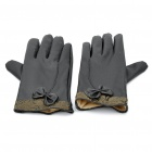 Lady Sheepskin Warming Gloves with Bowknot Decoration - Black (Pair)