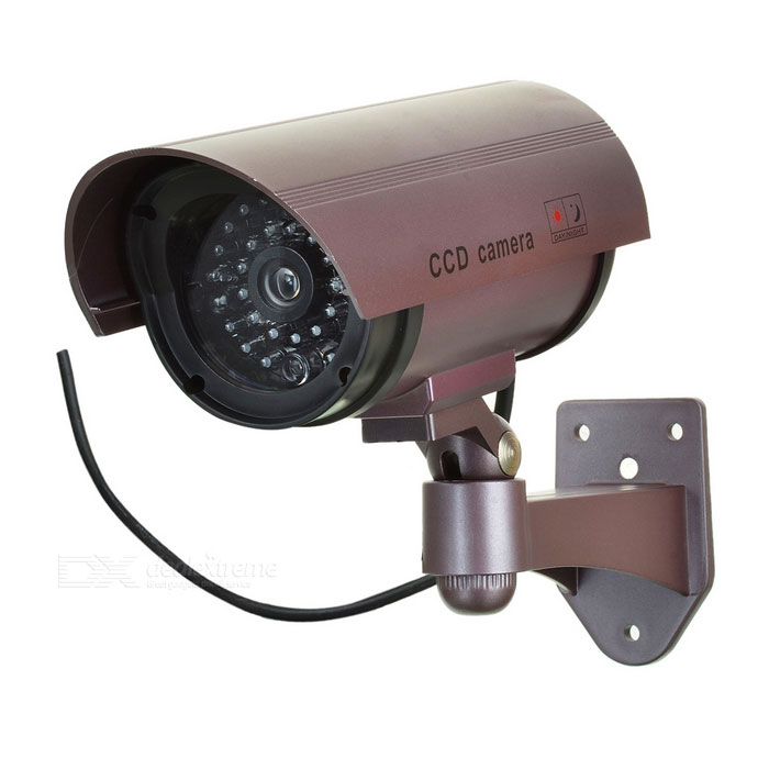 Realistic Dummy Surveillance Security Camera w/ Blinking Red LED - Purple (2 x AA)Other Security Products<br>Form  ColorRedPower SupplyAAPower AdaptornoPower AdapterBatteryPacking List<br>