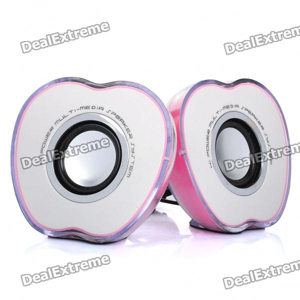 Apple Style USB Powered Music Stereo Speakers w/ MultiColored Light Effect - Pink (3.5mm-Jack)
