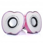 Apple-Style USB Powered Musik Stereo Lautsprecher w / Bunte Light Effect - Pink (3,5 mm-Klinke)