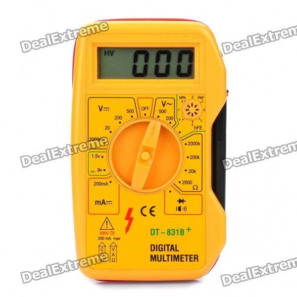 DT-831B+ 1.8 LCD Digital Multimeter - Yellow (1 x 6F22/9V Battery) dt 830b 1 8 lcd digital multimeter 1 x 6f22 9v battery