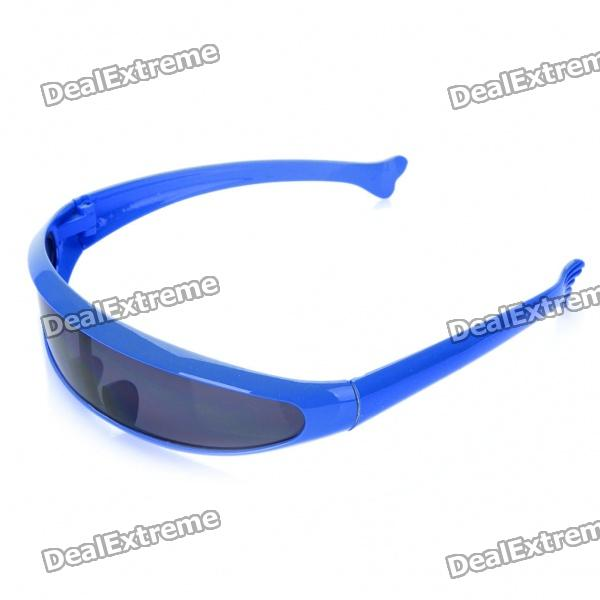 Novelty Funny Single Lens Sunglasses - BlueSunglasses<br>Frame ColorBlueLens ColorBlueFrame Height:Bridge Width:Packing List<br>