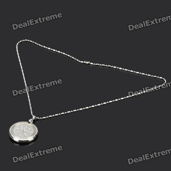 Lava Rock Quantum Science Energy Pendant Necklace with White Imitation Diamond - Silver