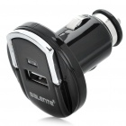 Mini Multifunction Single USB Ring-pull Style Car Cigarette Powered Charger - Black (12~24V)