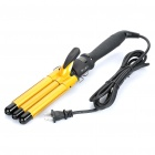 Professional Electric Curling Hair Iron - Golden + Black (AC 100~240V / 2-Flat-Pin Plug Cable)