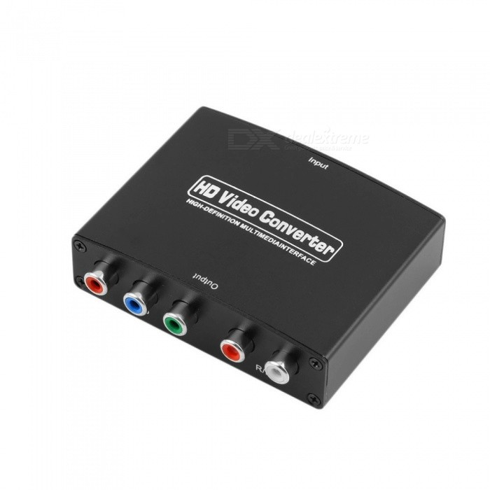 HDMI to YPbPr + R/L Audio Converter - Black cat5e 6 networking wire 1080p hdmi video audio signal amplifier kit black eu plug