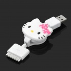 Hallo Kitty Stil Retractable USB Daten / Ladekabel für iPad / iPhone 3G / iPhone 4 / 4S (70cm)