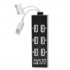 Multifunction High Speed 6-Port USB 2.0 Hub/Card Reader - Black