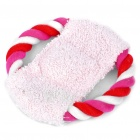 Nylon Cotton Rope Frisbee Pet Toys with Squeaker - Pink + White + Red