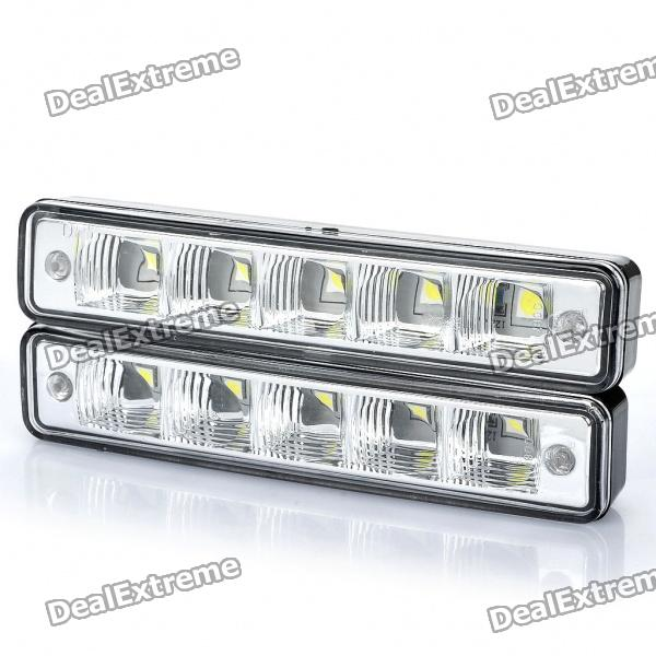 Water Resistant 2.5W 7500K 180-Lumen 5-LED White Light Car Daytime Running Lamps (DC 12V / Pair)