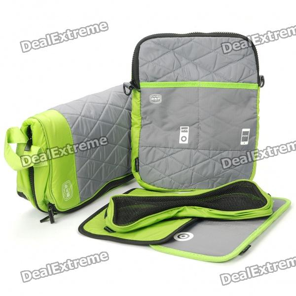 Multi-Purpose Protective Bag + One Shoulder Bag + Mouse Pad + CD Holder Set for Laptop - Green winmax 6pcs set knee elbow protective pad