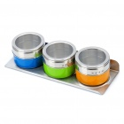 Magnetic Stainless Steel Seasoning Cans - Yellow + Blue + Green (3-Piece Set)