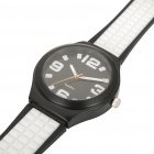 Outdoor Sports Silicone Quartz Wrist Watch - Black + White