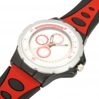 Sports Waterproof Silicone Wrist Watch - Black + Red (1 x 377)