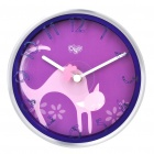 Stylish Cat Pattern Dual Purpose Wall Mounted / Desktop Table Clock - Purple + Silver (1 x AA)