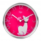 Stylish Cat Pattern Dual Purpose Wall Mounted / Desktop Table Clock - Deep Pink + Silver (1 x AA)