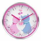 Stylish Cat Pattern Dual Purpose Wall Mounted / Desktop Table Clock - Pink + Silver (1 x AA)