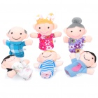 Cute Mini Happy Family Figure Plush Finger Puppets Toys (6-Piece Pack)