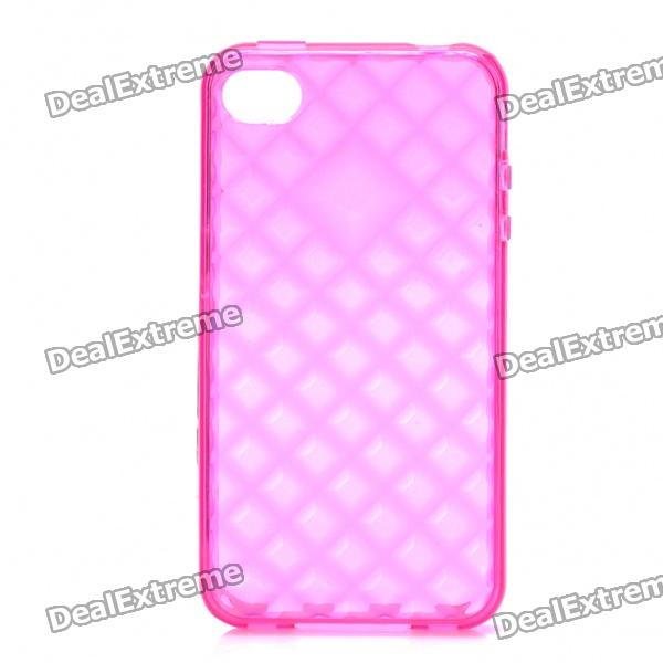 Protective TPU Back Case for Iphone 4 /4S - Transparent Deep Pink raindrop pattern protective abs back case for iphone 5 transparent deep pink orange