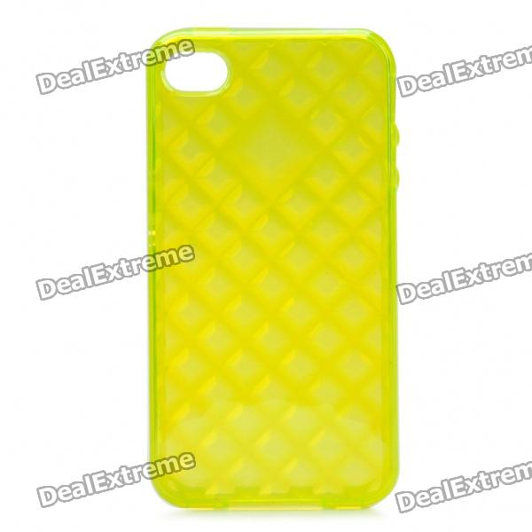 Protective TPU Back Case for Iphone 4 /4S - Transparent Yellow roswheel tpu waterproof bicycle mobile phone bag w plastic case for iphone 4 4s light coffee