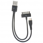 USB Male to Apple 30pin Male / Micro USB Male Charging / Data Cable for iPhone / HTC / Nokia (20cm)