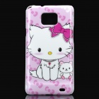 Cute Cat Pattern Protective PC Back Case for Samsung i9100 - Pink + White