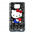 Cute Hello Kitty Pattern Protective PC Back Case for Samsung i9100 - Black + White