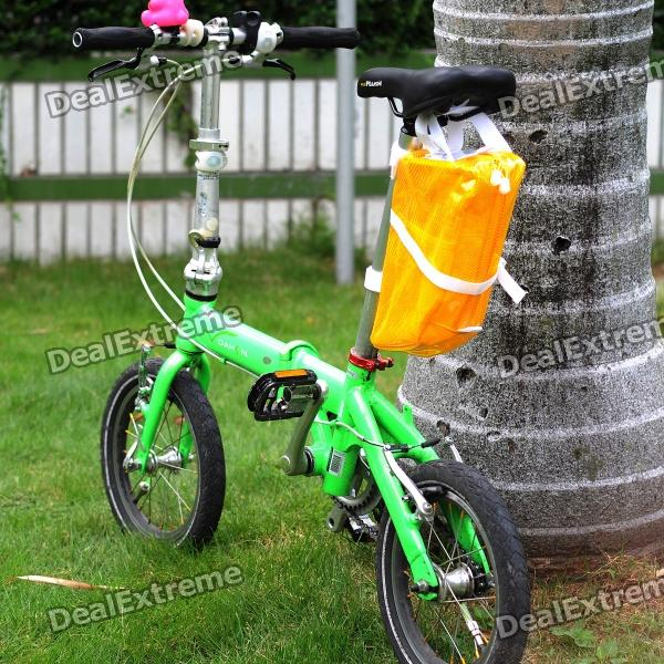 Fashion Waterproof Folding Bicycle Tail Bag with Red / Yellow LED Light - Yellow (Size L / 4 x AA)