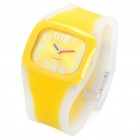Fashion Sporty Silicone Quartz Wrist Watch - Yellow + Transparent (1 x 377)