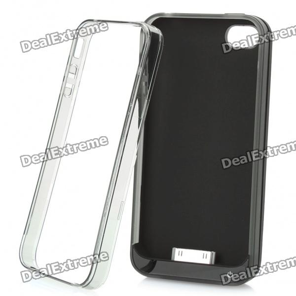 Plastic Protective Bumper Frame + 2000mAh External Battery Back Case + USB Cable for iPhone 4 / 4S