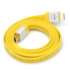 Designer's 3D HDMI V1.4 Male to Male Flat Connection Cable - Yellow (1.9M-Length)