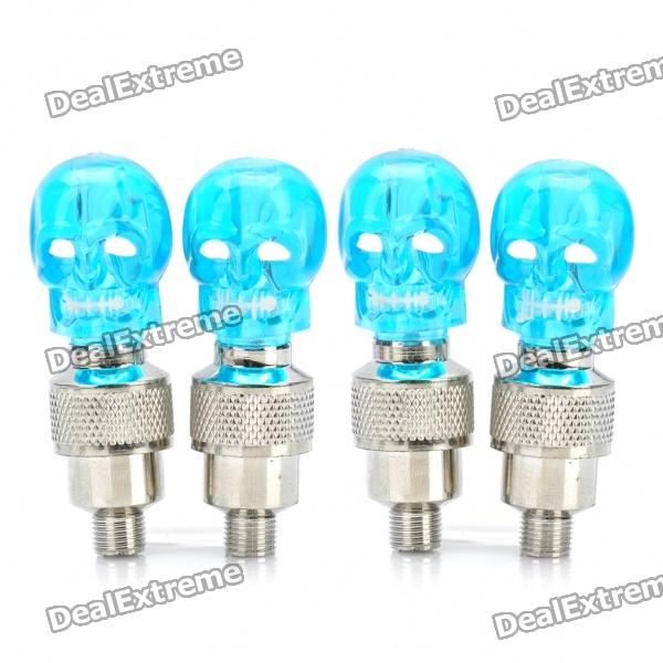 Skull Head decorativos Blue Light Bike / Car del neumático rueda de la válvula Lámparas Gorras (3 x AG10 / Pack 2-Par)