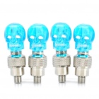 Skull Head Decorative Blue Light Bike/Car Wheel Tire Valve Caps Lamps (3 x AG10 / 2-Pair Pack)