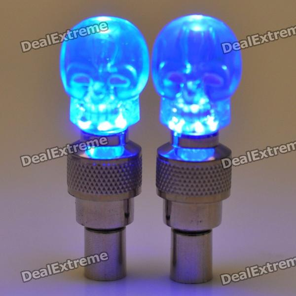 skull head decorative blue light bikecar wheel tire valve caps lamps   ag  pair pack