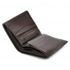 Deckese Cowhide Leather Medium Style 2-Fold Wallet Purse - Dark Brown