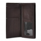 Deckese Cowhide Leather Long Style 2-Fold Wallet Purse - Dark Brown